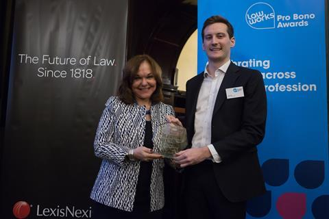 Junior Lawyers Division Pro Bono Award –  Josh Little, Allen & Overy LLP, with Hilarie Bass (President, American Bar Association)
